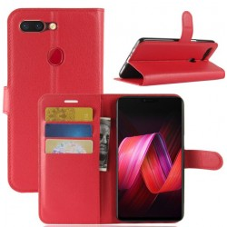Protection Etui Portefeuille Cuir Rouge Oppo R15
