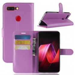 Protection Etui Portefeuille Cuir Violet Oppo R15