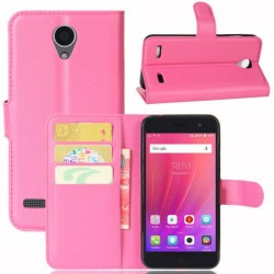 Protection Etui Portefeuille Cuir Rose ZTE Blade A520