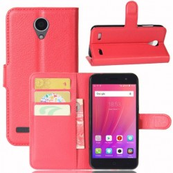 Protection Etui Portefeuille Cuir Rouge ZTE Blade A520