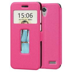Etui Protection S-View Cover Rose Pour ZTE Blade A520