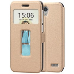 Gold S-view Flip Case For ZTE Blade A520