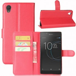 Protection Etui Portefeuille Cuir Rouge Sony Xperia L1
