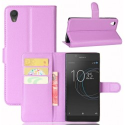 Protection Etui Portefeuille Cuir Violet Sony Xperia L1