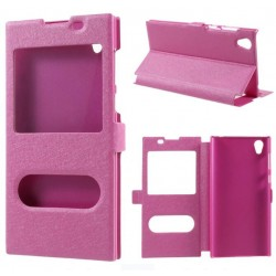 Pink S-view Flip Case For Sony Xperia L1