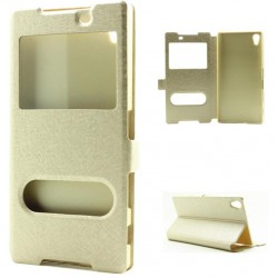 Gold S-view Flip Case For Sony Xperia L1