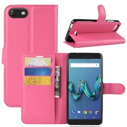 Protection Etui Portefeuille Cuir Rose Wiko Tommy 3