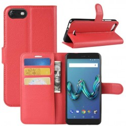 Protection Etui Portefeuille Cuir Rouge Wiko Tommy 3