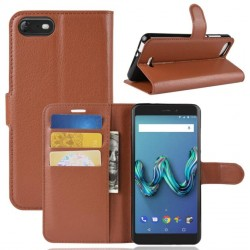 Protection Etui Portefeuille Cuir Marron Wiko Tommy 3