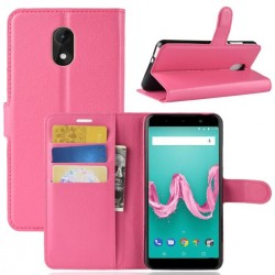 Protection Etui Portefeuille Cuir Rose Wiko Lenny 5