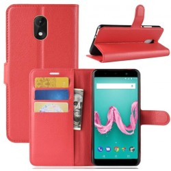 Protection Etui Portefeuille Cuir Rouge Wiko Lenny 5