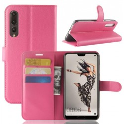 Protection Etui Portefeuille Cuir Rose Huawei P20 Pro