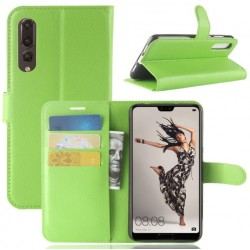 Protection Etui Portefeuille Cuir Vert Huawei P20 Pro
