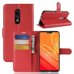 Protection Etui Portefeuille Cuir Rouge OnePlus 6