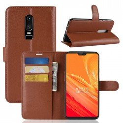 Protection Etui Portefeuille Cuir Marron OnePlus 6