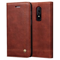 OnePlus 6 Brown Flip Leather Case