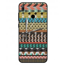 Huawei Y6 2019 Mexican Embroidery With Clock Cover