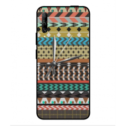 Huawei P smart Pro 2019 Mexican Embroidery With Clock Cover