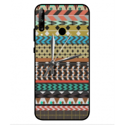 Huawei P40 Lite E Mexican Embroidery With Clock Cover