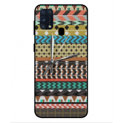 Samsung Galaxy M31 Mexican Embroidery With Clock Cover