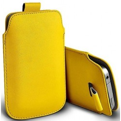 Bolsa De Cuero Amarillo Para Alcatel Fierce 4