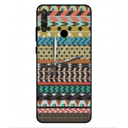 Huawei Y6p Mexican Embroidery With Clock Cover