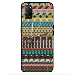 Oppo A52 Mexican Embroidery With Clock Cover