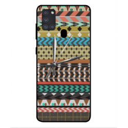 Samsung Galaxy A21s Mexican Embroidery With Clock Cover