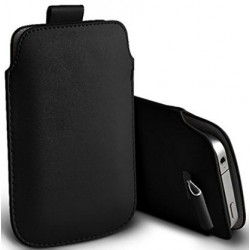 Bolsa De Cuero Negro Y Lengüeta Para Alcatel Flash Plus 2