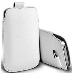 Bolsa De Cuero Blanco para Alcatel Flash Plus 2