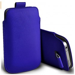 Bolsa De Cuero Azul Para Alcatel Flash Plus 2