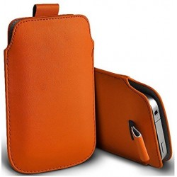 Bolsa De Cuero Naranja para Alcatel Flash Plus 2
