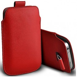 Bolsa De Cuero Rojo Para Alcatel Flash Plus 2