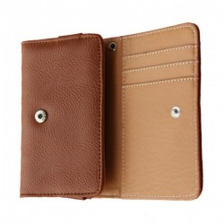 Etui Portefeuille En Cuir Marron Pour HTC One M9 Prime Camera