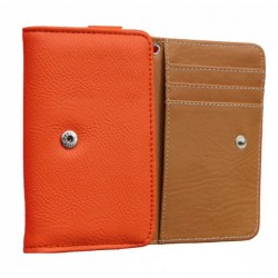 Etui Portefeuille En Cuir Orange Pour Alcatel Pop 4