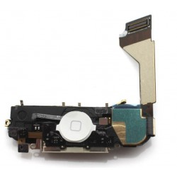 White Dock Charging Audio Jack Connector Microphone Flex Cable For iPhone 4