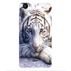 Coque Protection Tigre Blanc Pour Wiko Rainbow Jam 4G