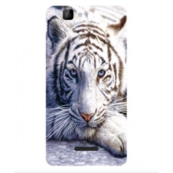 Coque Protection Tigre Blanc Pour Wiko Rainbow 4G