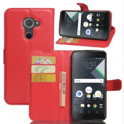 Protection Etui Portefeuille Cuir Rouge BlackBerry DTEK60