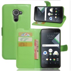 Protection Etui Portefeuille Cuir Vert BlackBerry DTEK60