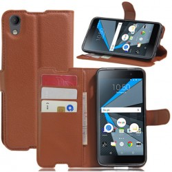 Protection Etui Portefeuille Cuir Marron BlackBerry Neon