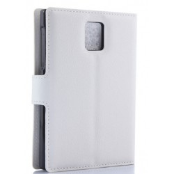 Protection Etui Portefeuille Cuir Blanc Blackberry Passport