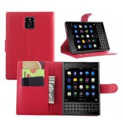 Protection Etui Portefeuille Cuir Rouge Blackberry Passport