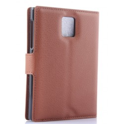 Protection Etui Portefeuille Cuir Marron Blackberry Passport