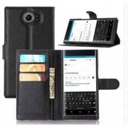 Protection Etui Portefeuille Cuir Noir BlackBerry Priv