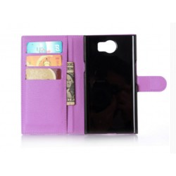 Protection Etui Portefeuille Cuir Violet BlackBerry Priv