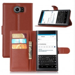 Protection Etui Portefeuille Cuir Marron BlackBerry Priv