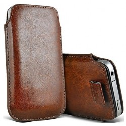 Alcatel OneTouch Idol 3 4.7 Brown Pull Pouch Tab