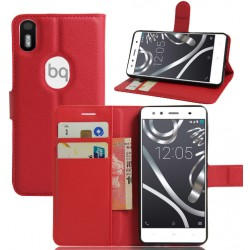 BQ Aquaris X5 Plus Red Wallet Case