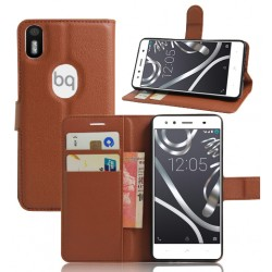 BQ Aquaris X5 Plus Brown Wallet Case